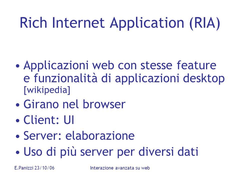 E.Panizzi 23/10/06Interazione avanzata su web Rich Internet Application (RIA) Applicazioni web con stesse feature e funzionalità di applicazioni deskt