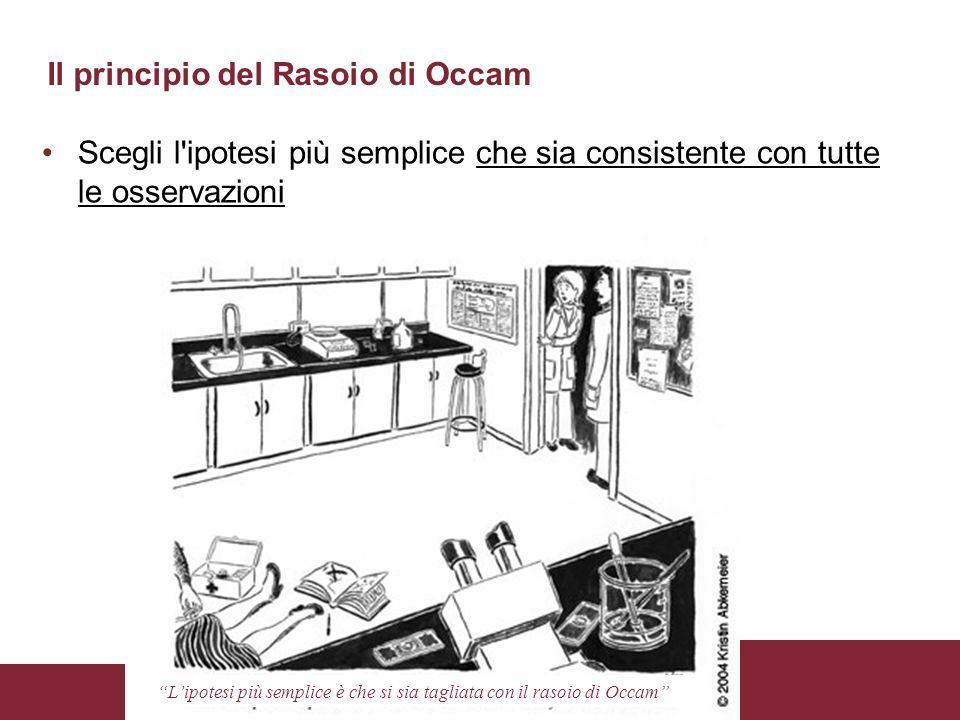 Apprendimento Automatico: Alberi di Decisione Roberto Navigli Il principio del Rasoio di Occam Scegli l'ipotesi più semplice che sia consistente con t