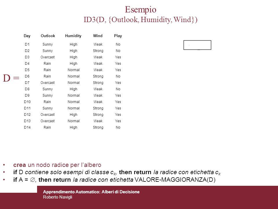 Apprendimento Automatico: Alberi di Decisione Roberto Navigli D = crea un nodo radice per lalbero if D contiene solo esempi di classe c k, then return