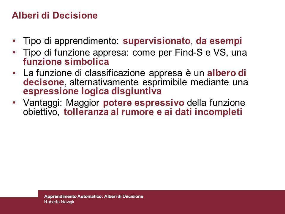 Roberto Navigli Alberi di Decisione Tipo di apprendimento: supervisionato, da esempi Tipo di funzione appresa: come per Find-S e VS, una funzione simb