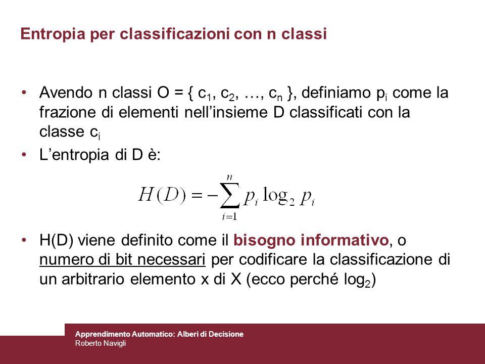 Apprendimento Automatico: Alberi di Decisione Roberto Navigli Entropia per classificazioni con n classi Avendo n classi O = { c 1, c 2, …, c n }, defi