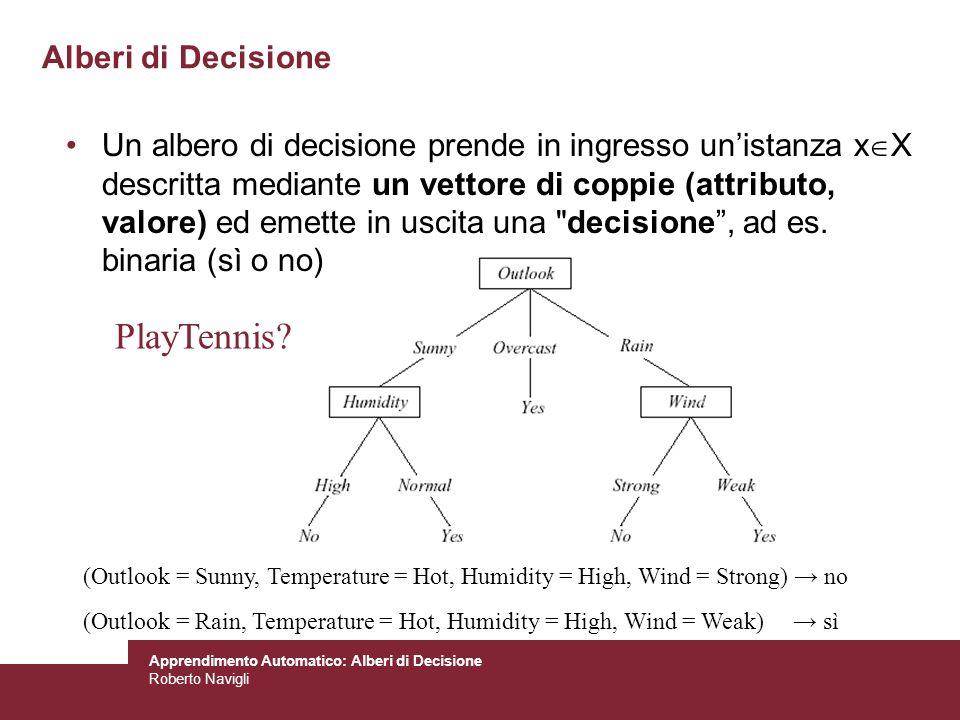 Apprendimento Automatico: Alberi di Decisione Roberto Navigli Alberi di Decisione Un albero di decisione prende in ingresso unistanza x X descritta me