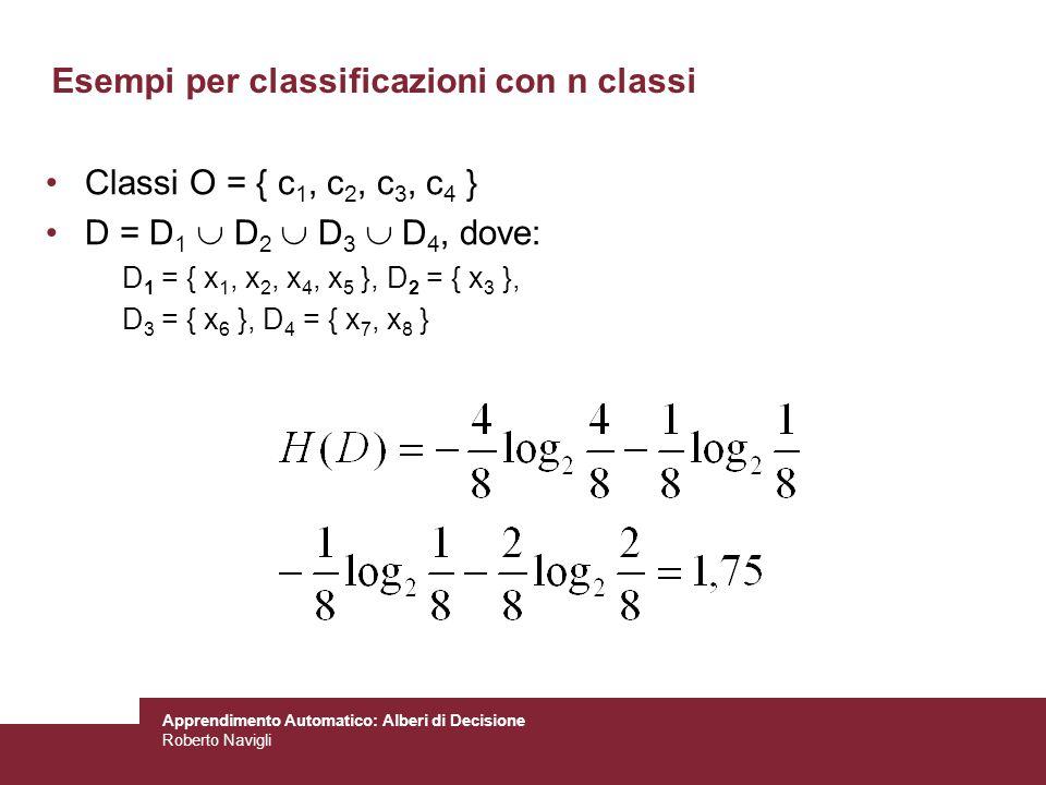 Apprendimento Automatico: Alberi di Decisione Roberto Navigli Classi O = { c 1, c 2, c 3, c 4 } D = D 1 D 2 D 3 D 4, dove: D 1 = { x 1, x 2, x 4, x 5