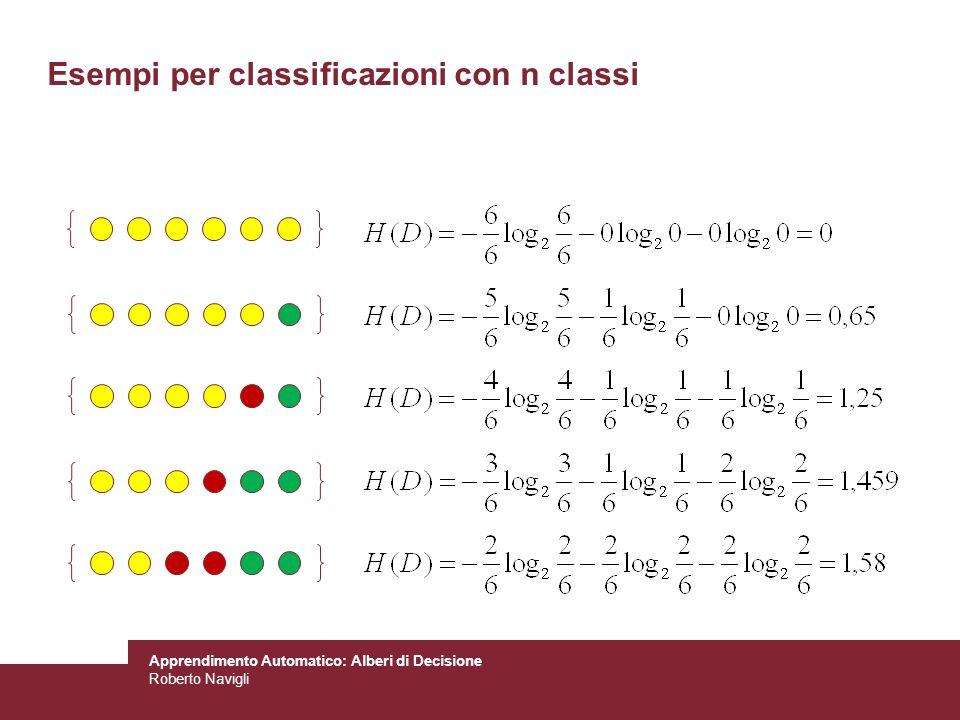 Apprendimento Automatico: Alberi di Decisione Roberto Navigli Esempi per classificazioni con n classi