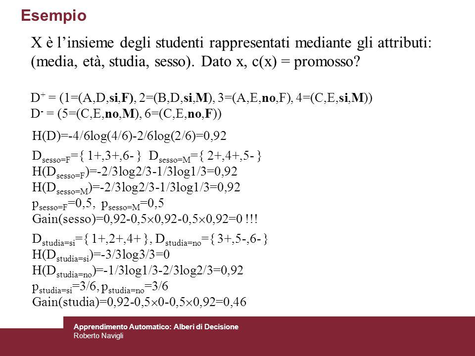Apprendimento Automatico: Alberi di Decisione Roberto Navigli Esempio H(D)=-4/6log(4/6)-2/6log(2/6)=0,92 D sesso=F ={ 1+,3+,6- } D sesso=M ={ 2+,4+,5-