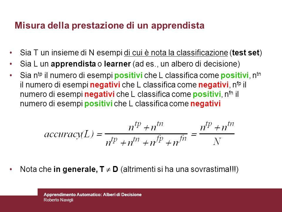 Apprendimento Automatico: Alberi di Decisione Roberto Navigli Misura della prestazione di un apprendista Sia T un insieme di N esempi di cui è nota la