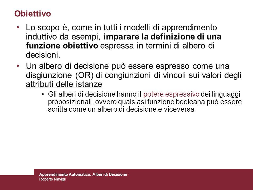 Apprendimento Automatico: Alberi di Decisione Roberto Navigli Obiettivo Lo scopo è, come in tutti i modelli di apprendimento induttivo da esempi, impa