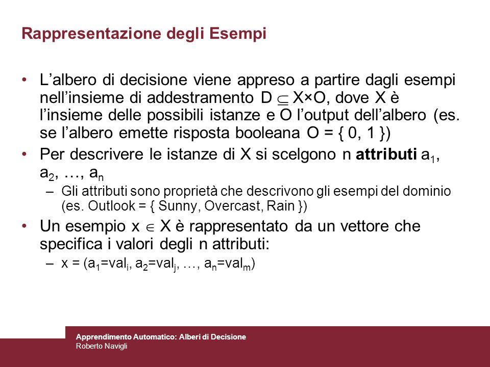 Apprendimento Automatico: Alberi di Decisione Roberto Navigli Rappresentazione degli Esempi Lalbero di decisione viene appreso a partire dagli esempi