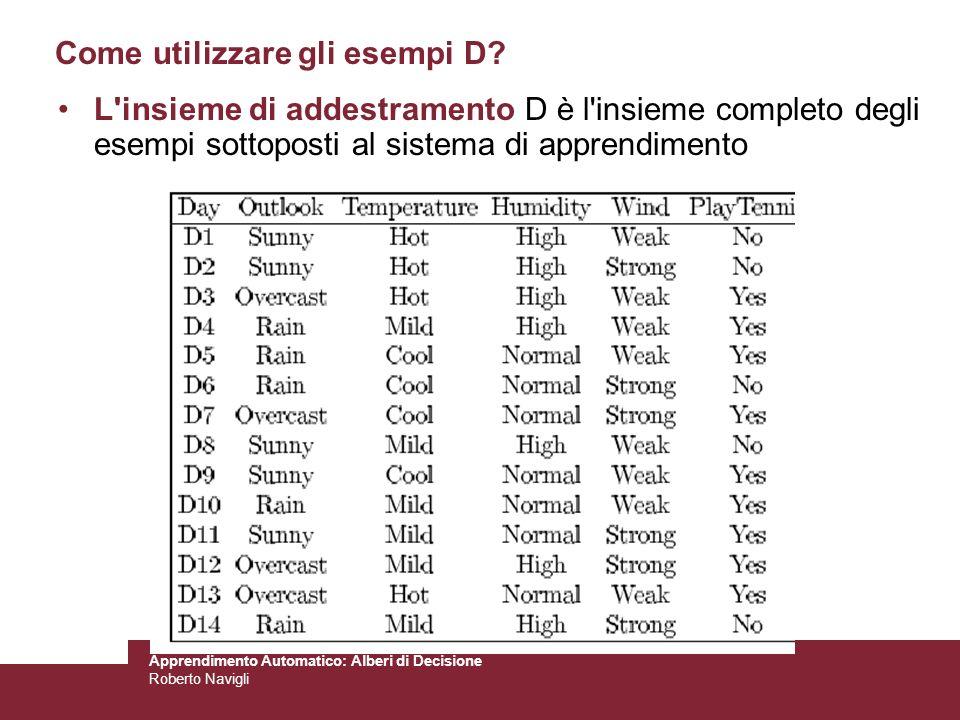 Apprendimento Automatico: Alberi di Decisione Roberto Navigli L'insieme di addestramento D è l'insieme completo degli esempi sottoposti al sistema di