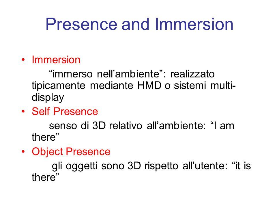 Presence and Immersion Immersion immerso nellambiente: realizzato tipicamente mediante HMD o sistemi multi- display Self Presence senso di 3D relativo