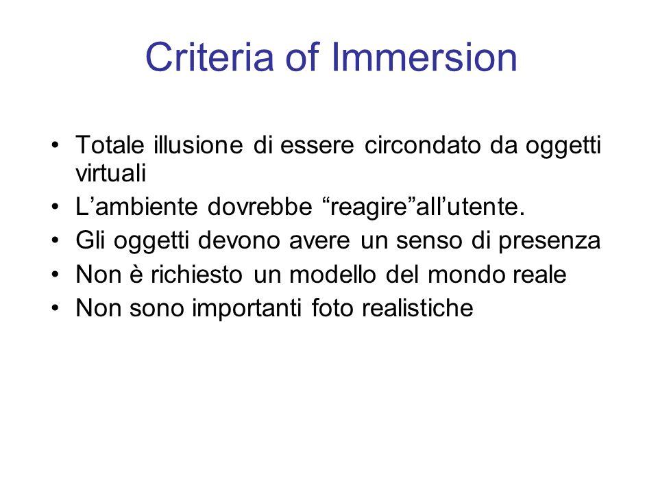 Criteria of Immersion Totale illusione di essere circondato da oggetti virtuali Lambiente dovrebbe reagireallutente.