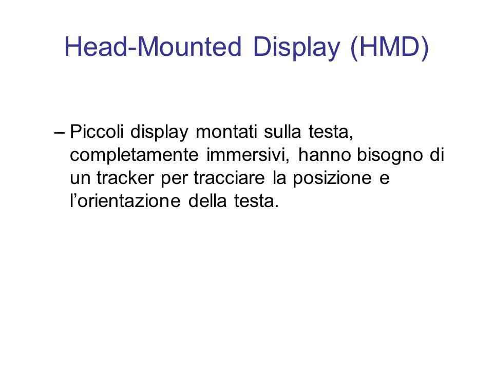 Head-Mounted Display (HMD) –Piccoli display montati sulla testa, completamente immersivi, hanno bisogno di un tracker per tracciare la posizione e lorientazione della testa.