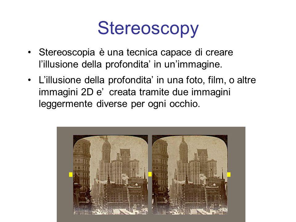 Stereoscopy Stereoscopia è una tecnica capace di creare lillusione della profondita in unimmagine.