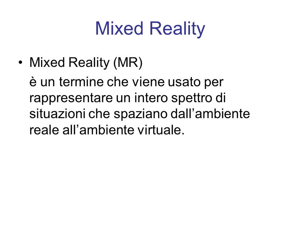 Mixed Reality Mixed Reality (MR) è un termine che viene usato per rappresentare un intero spettro di situazioni che spaziano dallambiente reale allambiente virtuale.