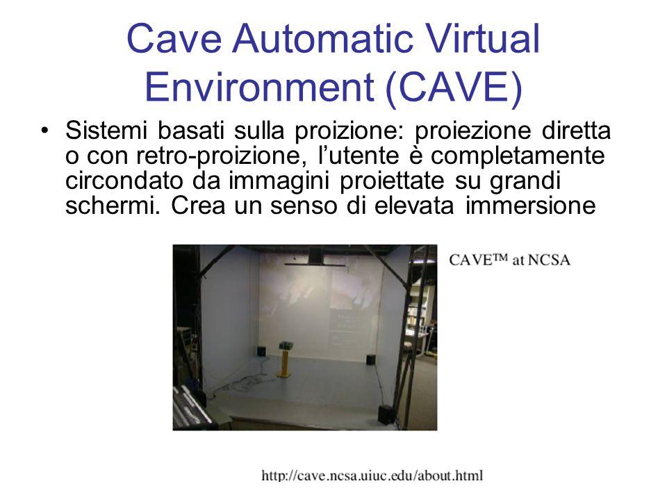 Cave Automatic Virtual Environment (CAVE) Sistemi basati sulla proizione: proiezione diretta o con retro-proizione, lutente è completamente circondato da immagini proiettate su grandi schermi.