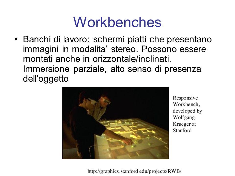 Workbenches Banchi di lavoro: schermi piatti che presentano immagini in modalita stereo.