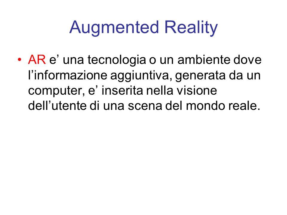 Augmented Reality AR e una tecnologia o un ambiente dove linformazione aggiuntiva, generata da un computer, e inserita nella visione dellutente di una scena del mondo reale.