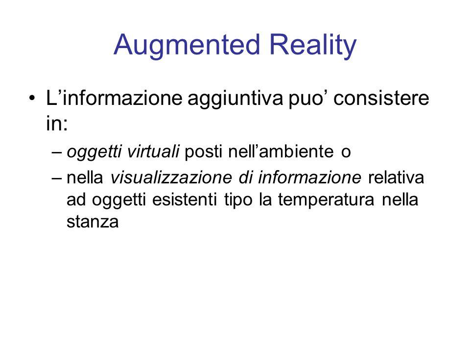 Augmented Reality Linformazione aggiuntiva puo consistere in: –oggetti virtuali posti nellambiente o –nella visualizzazione di informazione relativa ad oggetti esistenti tipo la temperatura nella stanza