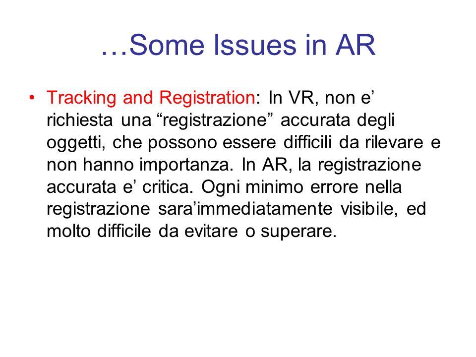 …Some Issues in AR Tracking and Registration: In VR, non e richiesta una registrazione accurata degli oggetti, che possono essere difficili da rilevare e non hanno importanza.