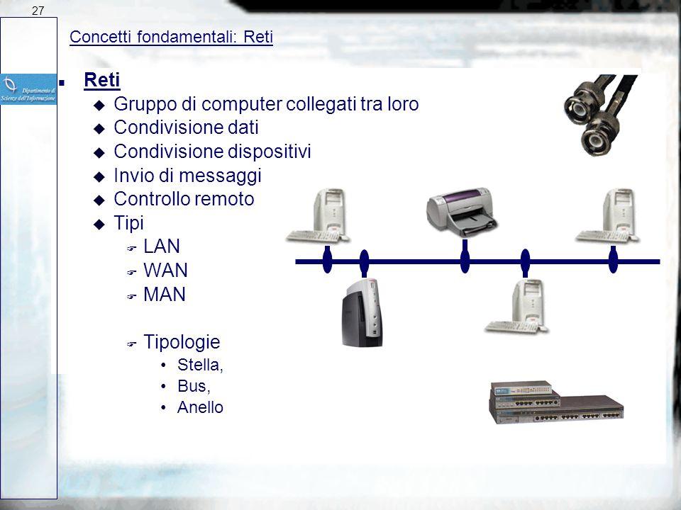 n Schede inseribili nella motherboard (es. per il collegamento in Rete) n Dispositivi collegabili su porta seriale, parallela o USB (Scanner, Plotter,