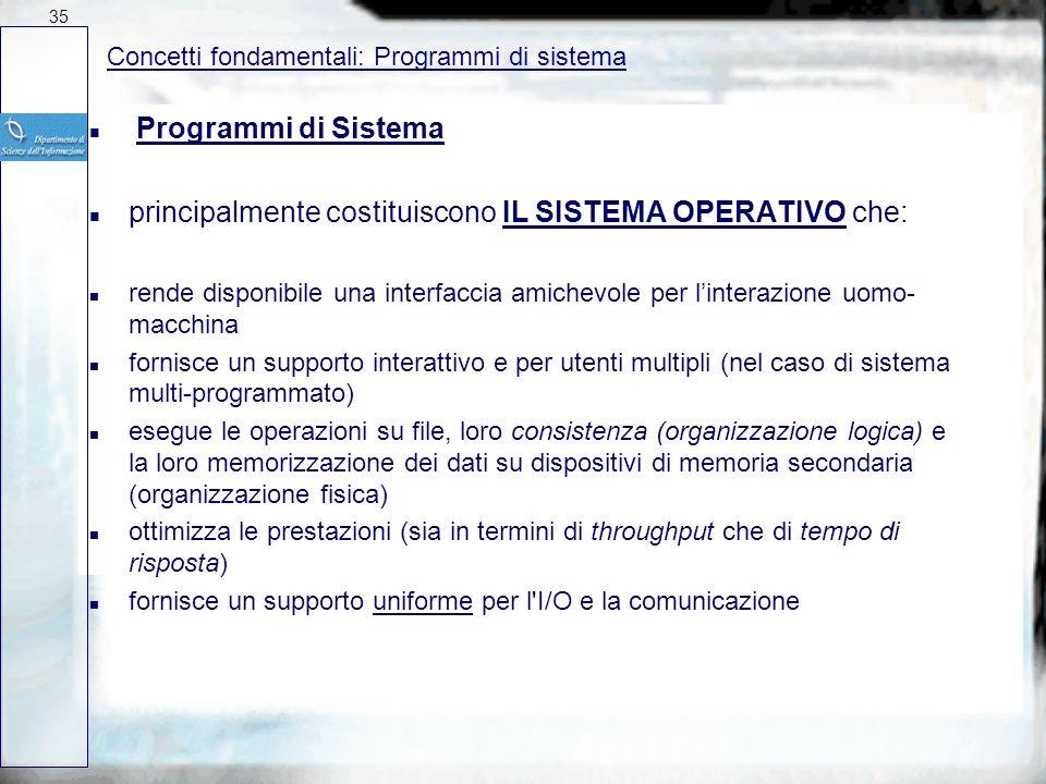 Sistemi Operativi: Processi e Programmi Un calcolo consiste in un numero di attività che vengono eseguite sulla CPU (con la cooperazione dei vari disp