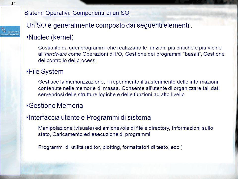 Sistemi Operativi: Organizzazione Un SO è organizzato in forma stratificata 41