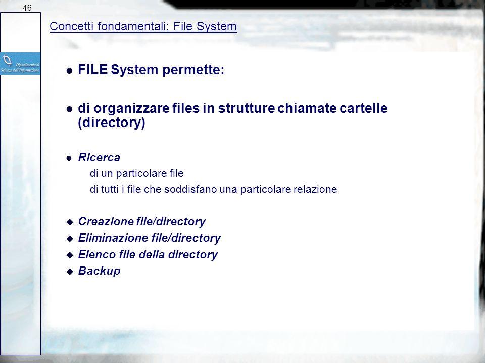 Concetti fondamentali: File System l FILE System contiene (per file): l Informazioni Base Nome del file Tipo del file Organizzazione del file l Inform