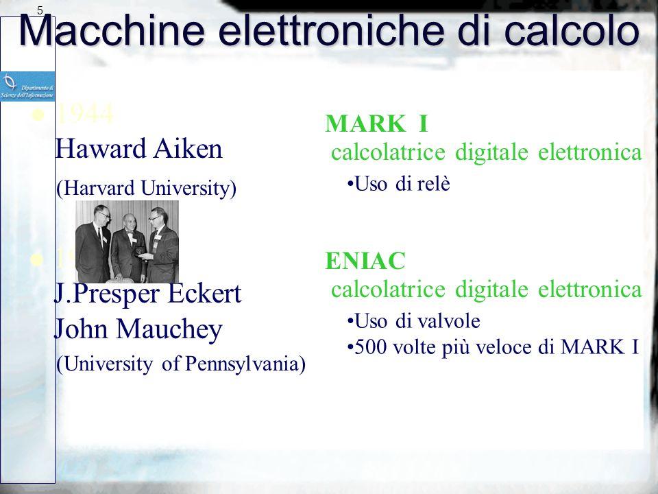 4 Elaboratori meccanici di calcolo l 1642 Blaise Pascal Macchina addizionatrice l Qualche anno dopo Gott-Fried Leibniz Sistema meccanico di calcolo Es