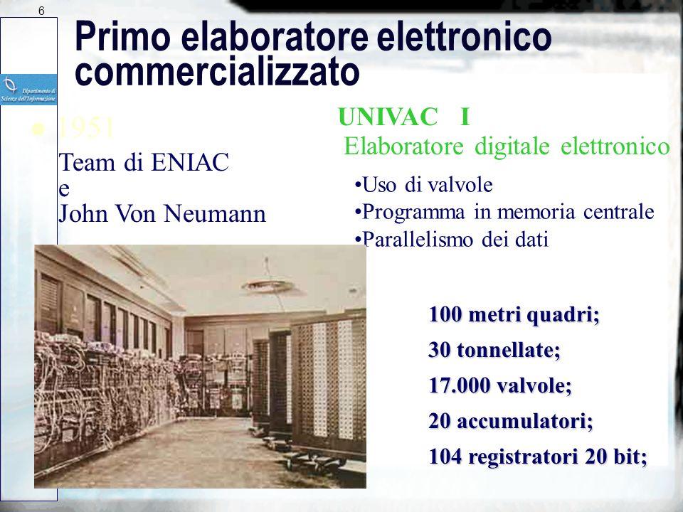 5 Macchine elettroniche di calcolo l 1944 Haward Aiken MARK I calcolatrice digitale elettronica Uso di relè (Harvard University) l 1946 J.Presper Ecke