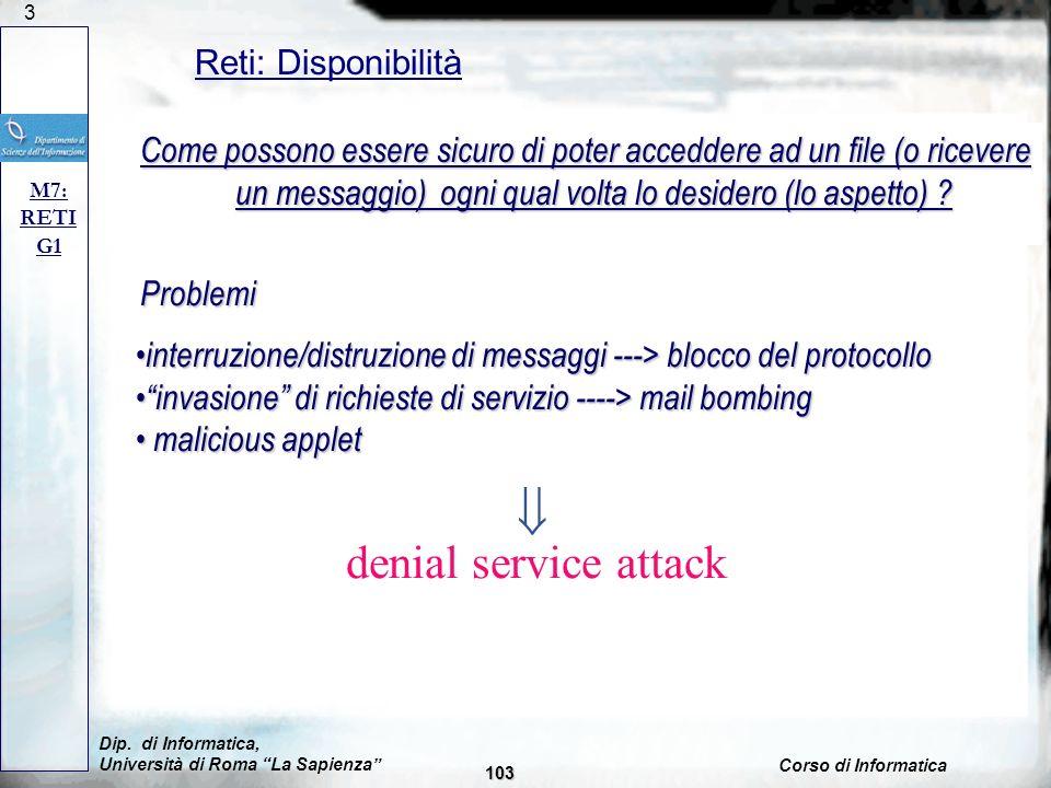 103 Reti: Disponibilità M7: RETI G1 Problema: intercettazione di messaggi; Soluzione: proteggere messaggio; Come possono essere sicuro di poter accedd