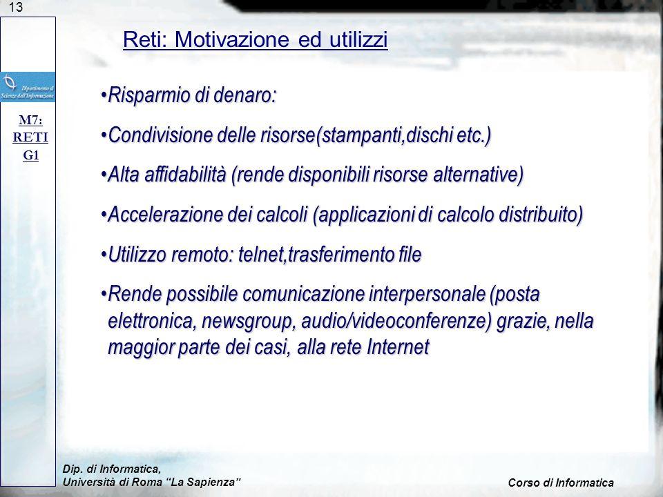 13 Dip. di Informatica, Università di Roma La Sapienza Corso di Informatica Reti: Motivazione ed utilizzi M7: RETI G1 Risparmio di denaro: Risparmio d