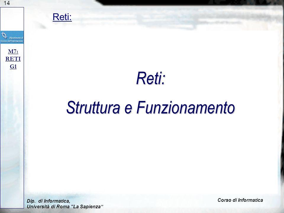 14 Dip. di Informatica, Università di Roma La Sapienza Corso di Informatica Reti: M7: RETI G1 Reti: Struttura e Funzionamento