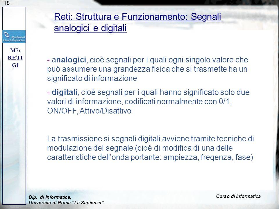 18 Dip. di Informatica, Università di Roma La Sapienza Corso di Informatica Reti: Struttura e Funzionamento: Segnali analogici e digitali M7: RETI G1