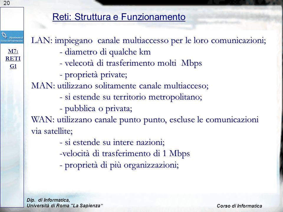 20 Dip. di Informatica, Università di Roma La Sapienza Corso di Informatica Reti: Struttura e Funzionamento M7: RETI G1 LAN: impiegano canale multiacc