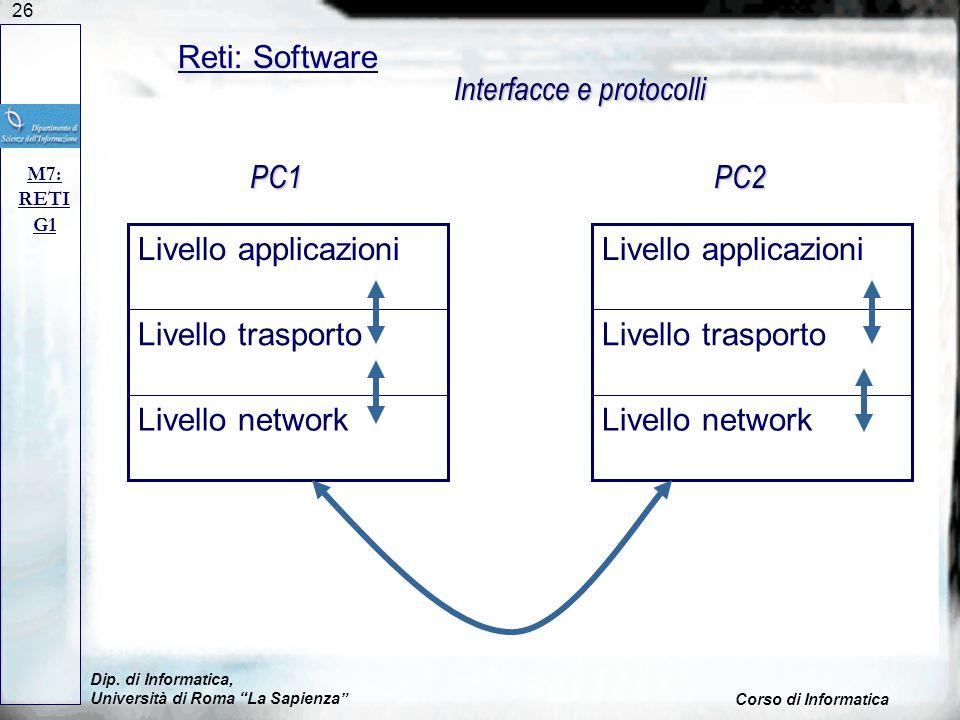 26 Dip. di Informatica, Università di Roma La Sapienza Corso di Informatica Reti: Software M7: RETI G1 Livello network Livello trasporto Livello appli