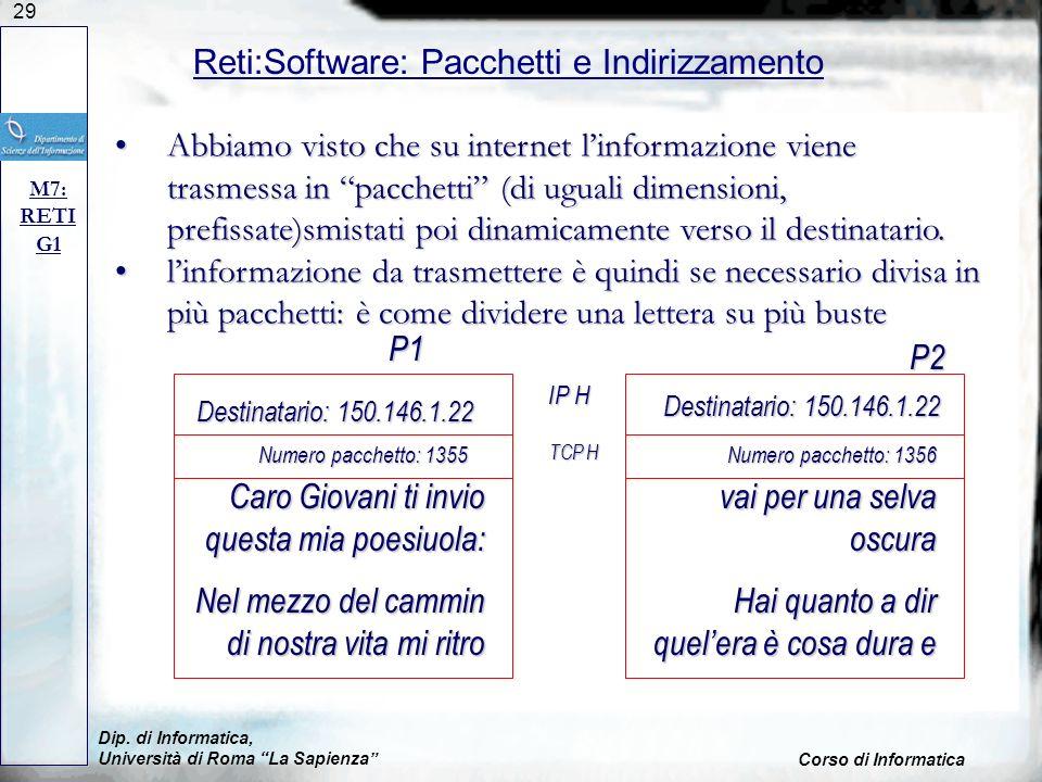 29 Dip. di Informatica, Università di Roma La Sapienza Corso di Informatica Reti:Software: Pacchetti e Indirizzamento M7: RETI G1 Abbiamo visto che su