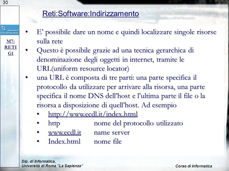 30 Dip. di Informatica, Università di Roma La Sapienza Corso di Informatica Reti:Software:Indirizzamento M7: RETI G1 E possibile dare un nome e quindi