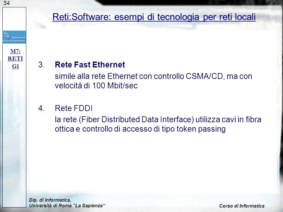 34 3.Rete Fast Ethernet simile alla rete Ethernet con controllo CSMA/CD, ma con velocità di 100 Mbit/sec 4.Rete FDDI la rete (Fiber Distributed Data I