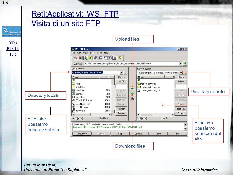 69 Dip. di Inrmaticaf, Università di Roma La Sapienza Corso di Informatica M7: RETI G2 Reti:Applicativi: WS_FTP Visita di un sito FTP Directory locali