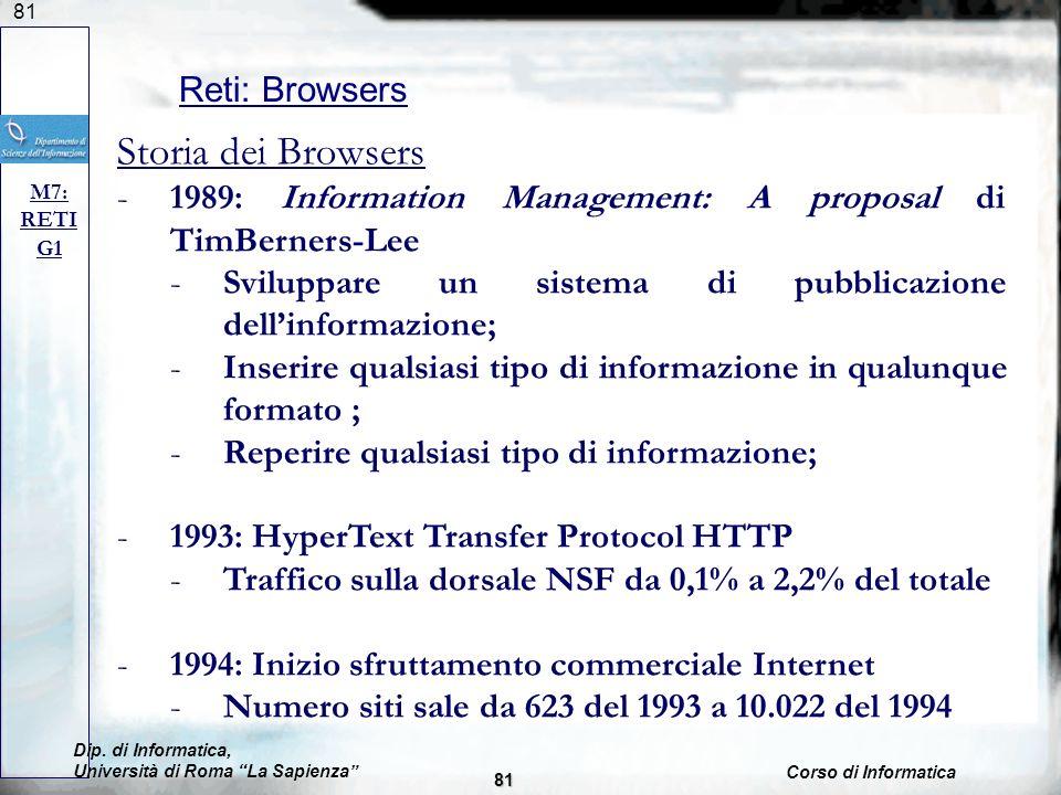 81 Reti: Browsers M7: RETI G1 Dip. di Informatica, Università di Roma La Sapienza Corso di Informatica 81 Storia dei Browsers -1989: Information Manag