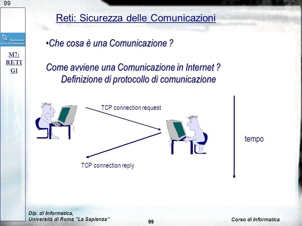 99 Dip. di Informatica, Università di Roma La Sapienza Corso di Informatica Reti: Sicurezza delle Comunicazioni M7: RETI G1 Che cosa è una Comunicazio
