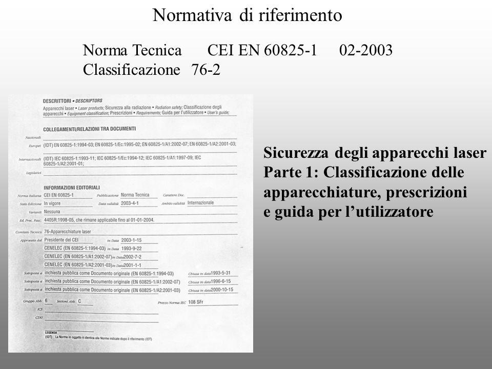 Normativa di riferimento Norma Tecnica CEI EN 60825-1 02-2003 Classificazione 76-2 Sicurezza degli apparecchi laser Parte 1: Classificazione delle app