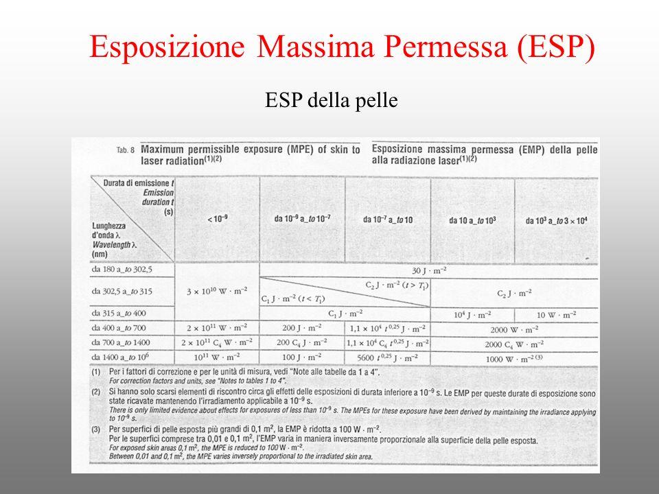 Esposizione Massima Permessa (ESP) ESP della pelle