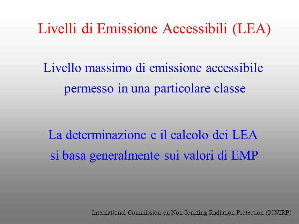 Livelli di Emissione Accessibili (LEA) Livello massimo di emissione accessibile permesso in una particolare classe La determinazione e il calcolo dei