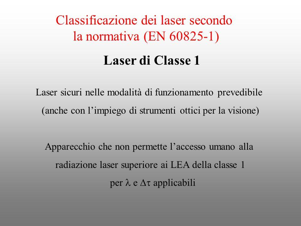 Classificazione dei laser secondo la normativa (EN 60825-1) Laser sicuri nelle modalità di funzionamento prevedibile (anche con limpiego di strumenti