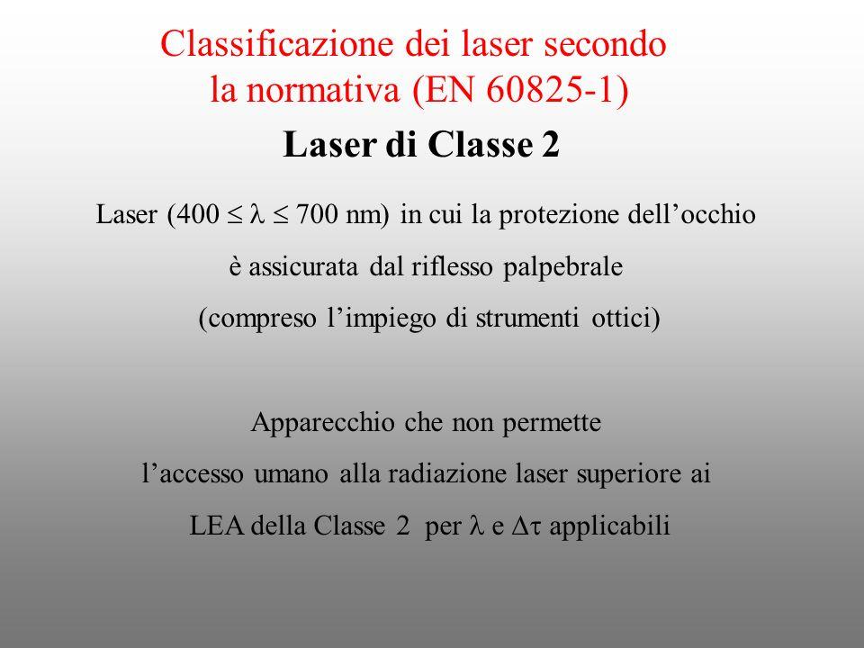 Classificazione dei laser secondo la normativa (EN 60825-1) Laser (400 700 nm) in cui la protezione dellocchio è assicurata dal riflesso palpebrale (c