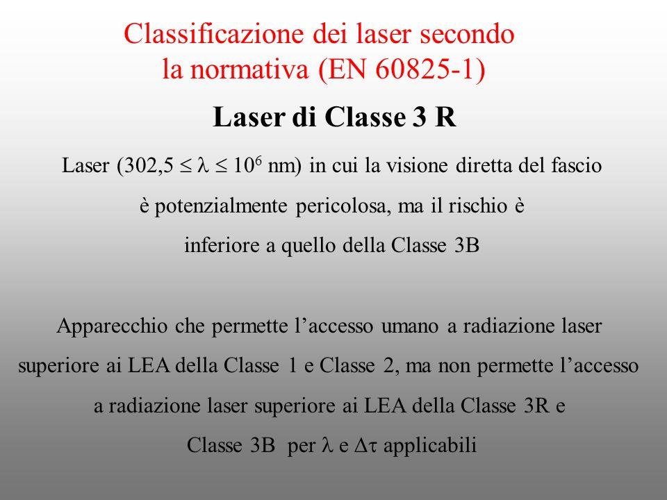 Classificazione dei laser secondo la normativa (EN 60825-1) Laser (302,5 10 6 nm) in cui la visione diretta del fascio è potenzialmente pericolosa, ma