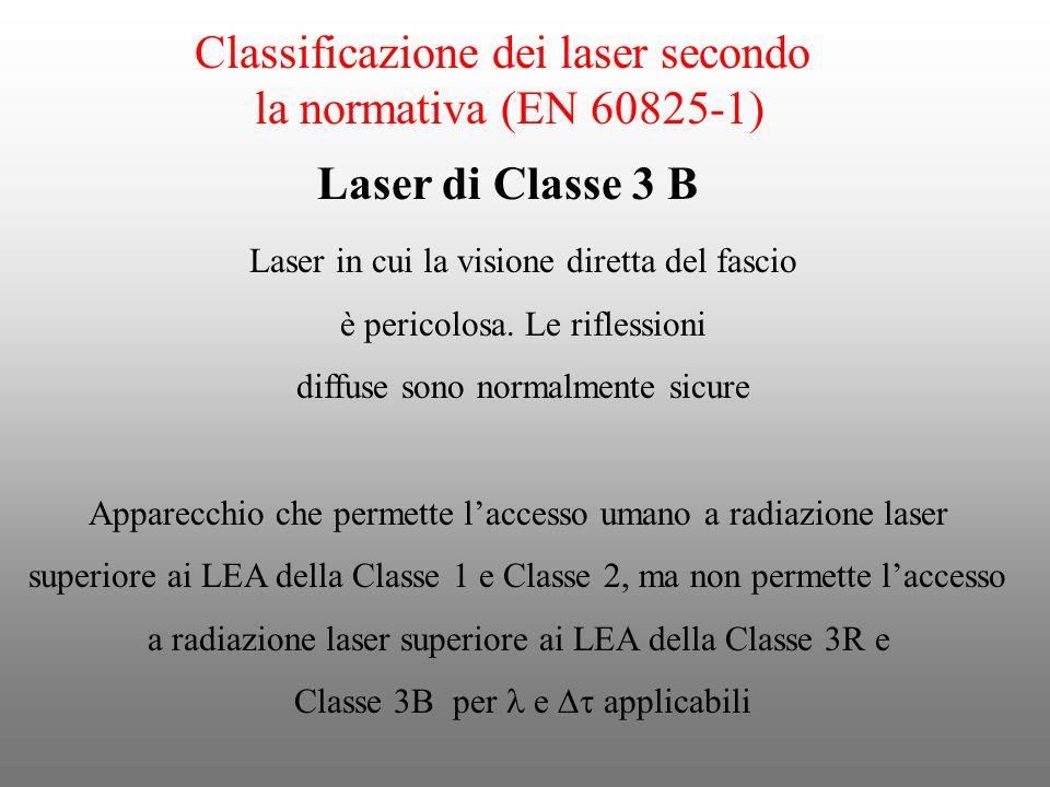 Classificazione dei laser secondo la normativa (EN 60825-1) Laser in cui la visione diretta del fascio è pericolosa. Le riflessioni diffuse sono norma
