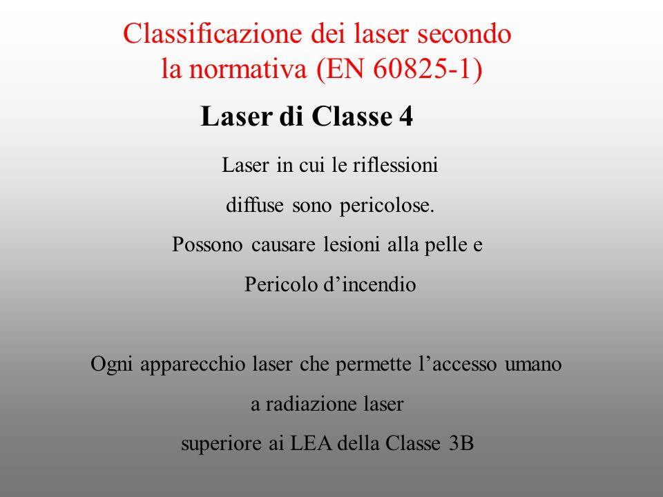 Classificazione dei laser secondo la normativa (EN 60825-1) Laser in cui le riflessioni diffuse sono pericolose. Possono causare lesioni alla pelle e