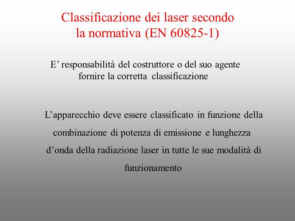 Classificazione dei laser secondo la normativa (EN 60825-1) E responsabilità del costruttore o del suo agente fornire la corretta classificazione Lapp